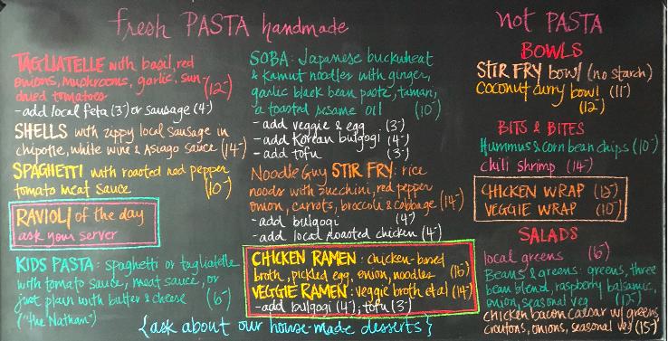 Image of menu chalkboard in restaurant. Same as text menu below.